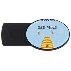 Bee Mine Valentines Day Usb Flash Drive Oval (4 Gb) by Valentinaart