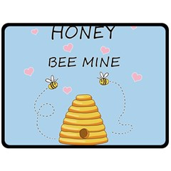 Bee Mine Valentines Day Fleece Blanket (large)  by Valentinaart