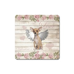 Vintage Chihuahua   Valentines Day Square Magnet by Valentinaart