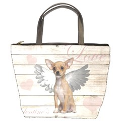Vintage Chihuahua   Valentines Day Bucket Bags by Valentinaart