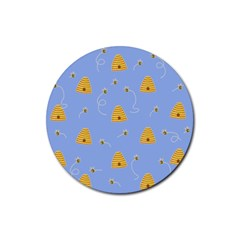 Bee Pattern Rubber Coaster (round)  by Valentinaart