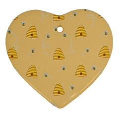 Bee Pattern Heart Ornament (two Sides) by Valentinaart