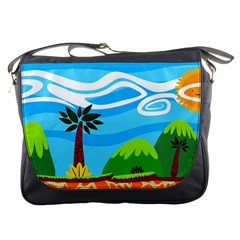Landscape Background Nature Sky Messenger Bags by Nexatart