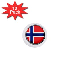 Norway Country Nation Blue Symbol 1  Mini Buttons (10 Pack)  by Nexatart
