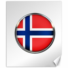 Norway Country Nation Blue Symbol Canvas 8  X 10
