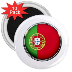 Portugal Flag Country Nation 3  Magnets (10 Pack)
