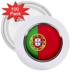 Portugal Flag Country Nation 3  Buttons (100 Pack)