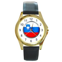 Slovenia Flag Mountains Country Round Gold Metal Watch