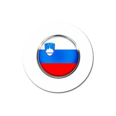 Slovenia Flag Mountains Country Magnet 3  (round) by Nexatart