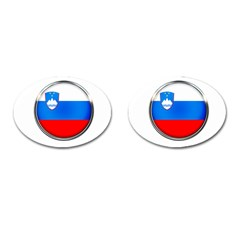 Slovenia Flag Mountains Country Cufflinks (oval)