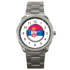 Serbia Flag Icon Europe National Sport Metal Watch by Nexatart
