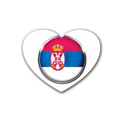 Serbia Flag Icon Europe National Rubber Coaster (heart)