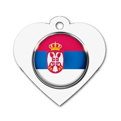 Serbia Flag Icon Europe National Dog Tag Heart (two Sides) by Nexatart