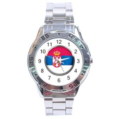 Serbia Flag Icon Europe National Stainless Steel Analogue Watch