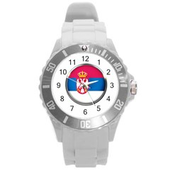 Serbia Flag Icon Europe National Round Plastic Sport Watch (l) by Nexatart