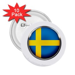 Sweden Flag Country Countries 2 25  Buttons (10 Pack)