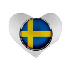 Sweden Flag Country Countries Standard 16  Premium Flano Heart Shape Cushions by Nexatart