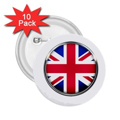 United Kingdom Country Nation Flag 2 25  Buttons (10 Pack)  by Nexatart