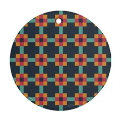Squares Geometric Abstract Background Ornament (round)