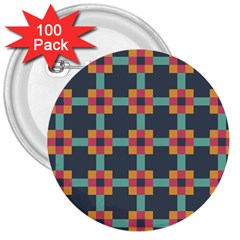 Squares Geometric Abstract Background 3  Buttons (100 Pack)
