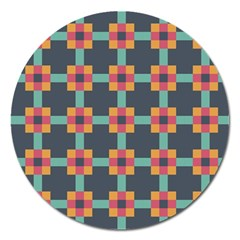 Squares Geometric Abstract Background Magnet 5  (round)