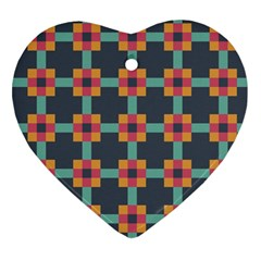 Squares Geometric Abstract Background Heart Ornament (two Sides) by Nexatart
