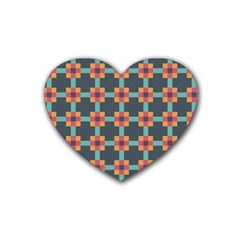 Squares Geometric Abstract Background Rubber Coaster (heart)
