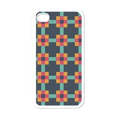 Squares Geometric Abstract Background Apple Iphone 4 Case (white) by Nexatart