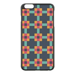Squares Geometric Abstract Background Apple Iphone 6 Plus/6s Plus Black Enamel Case by Nexatart
