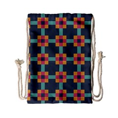 Squares Geometric Abstract Background Drawstring Bag (small)