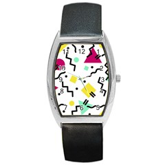 Art Background Abstract Unique Barrel Style Metal Watch