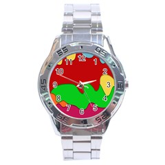 Liquid Forms Water Background Stainless Steel Analogue Watch