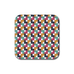 Background Abstract Geometric Rubber Square Coaster (4 Pack)