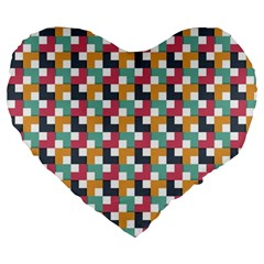 Background Abstract Geometric Large 19  Premium Flano Heart Shape Cushions