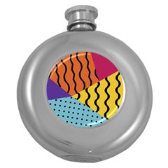Background Abstract Memphis Round Hip Flask (5 Oz) by Nexatart