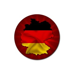 Germany Map Flag Country Red Flag Rubber Round Coaster (4 Pack)