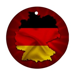 Germany Map Flag Country Red Flag Round Ornament (two Sides)