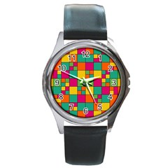Squares Abstract Background Abstract Round Metal Watch