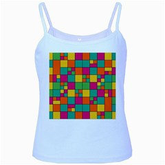 Squares Abstract Background Abstract Baby Blue Spaghetti Tank