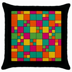 Squares Abstract Background Abstract Throw Pillow Case (black) by Nexatart
