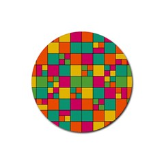 Squares Abstract Background Abstract Rubber Coaster (round)