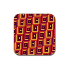 3 D Squares Abstract Background Rubber Square Coaster (4 Pack)