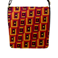 3 D Squares Abstract Background Flap Messenger Bag (l)