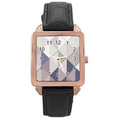 Background Geometric Triangle Rose Gold Leather Watch