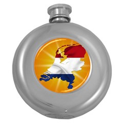 Holland Country Nation Netherlands Flag Round Hip Flask (5 Oz) by Nexatart