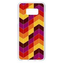 Geometric Pattern Triangle Samsung Galaxy S8 Plus White Seamless Case by Nexatart