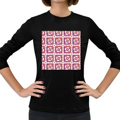 Background Abstract Square Women s Long Sleeve Dark T Shirts