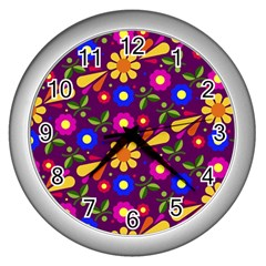 Flower Pattern Illustration Background Wall Clocks (silver)  by Nexatart