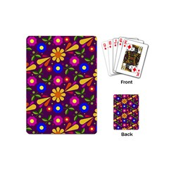 Flower Pattern Illustration Background Playing Cards (mini)