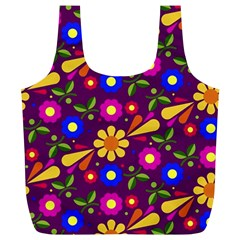 Flower Pattern Illustration Background Full Print Recycle Bags (l)